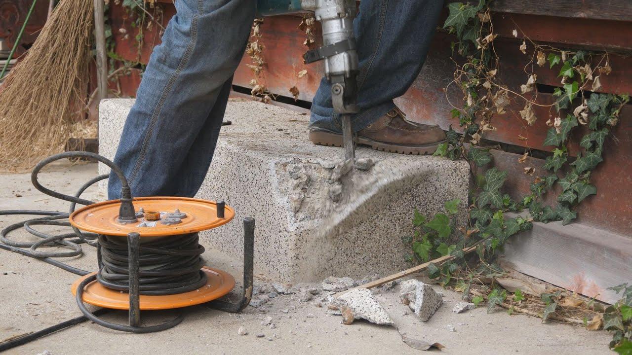 古民家をガレージに改装する。ストレス発散 沓脱石を割る!
